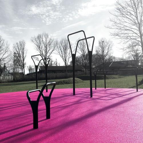 Flotte udendørs træningsredskaber pink helstøbtgummi Herning
