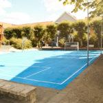 Boldbane med asfaltmaling i blå