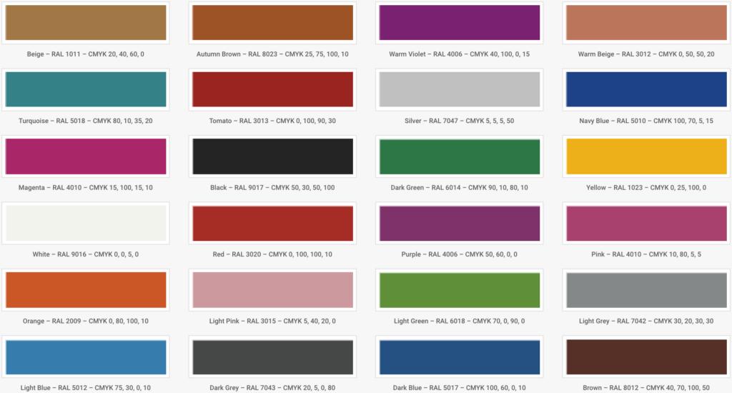 Oversigt over standardfarver for termoplast hos NOORD