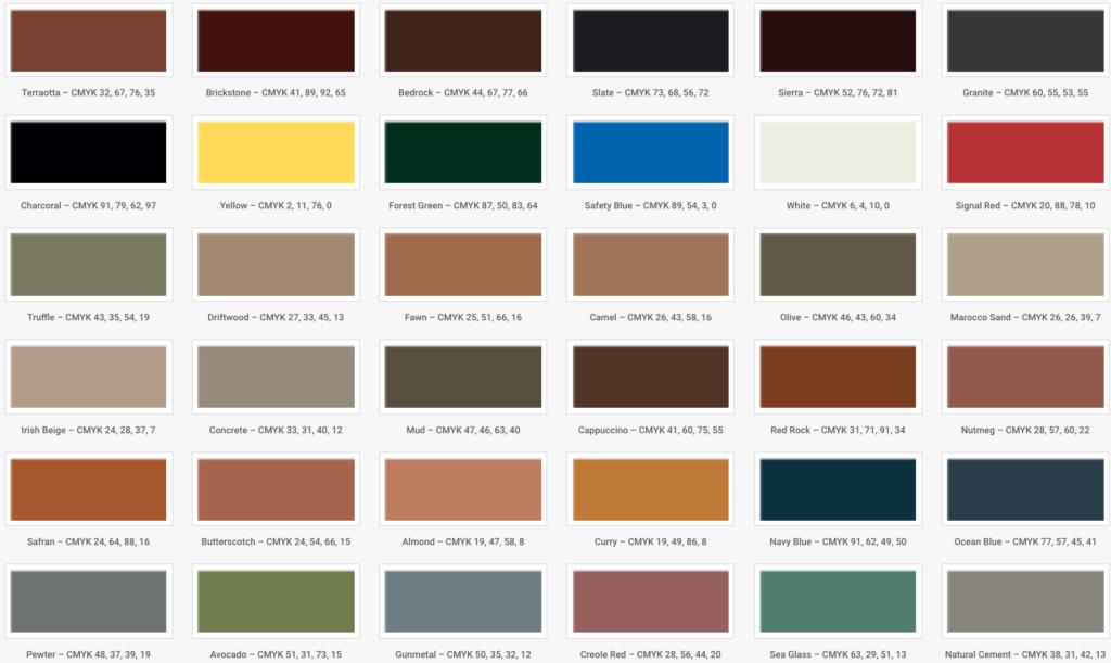 Oversigt over standardfarver til asfaltmaling