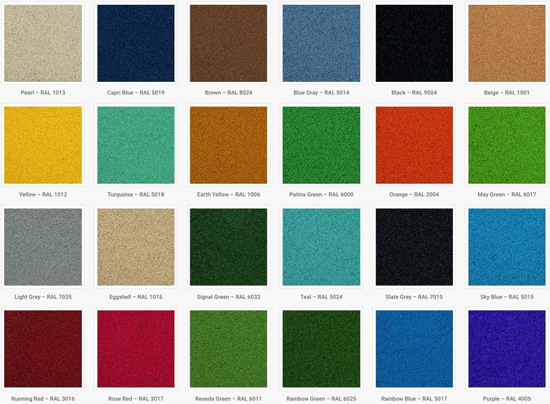 Gummibelægning standardfarver hos NOORD